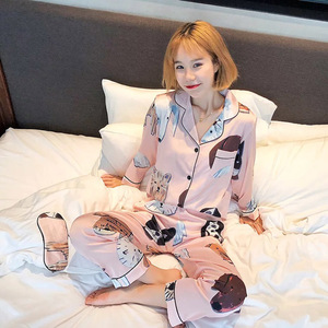 Image 5 - Lovers Pajamas Women Silk Stain Sleepwear Bighead Dog Printed Leisure Women Poplin Pijama Set Turn down Collar Housewear