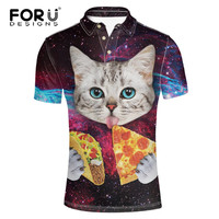 FORUDESIGNS Cool Animal Cat Print Men Polo Shirt 3D Universe Space Galaxy Top Tees For Male