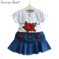 유머 곰 2017 새로운 여름 여자 의류 세트 자수 T 셔츠 + 카우보이 스커트 2 개 세트 옷 여자
