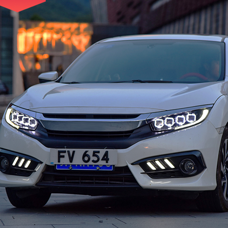 For Honda Civic Headlights Assembly Full LED Design 2016 2017 Year Front Light With Daytime Running