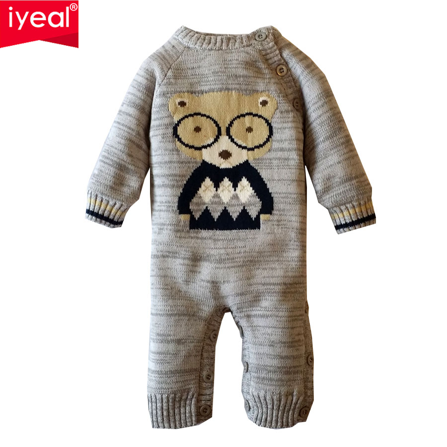 IYEAL Warm Jumpsuit Thickened Winter Cute Glasses Bear O-Neck Knitted Sweater Overalls Autumn Baby Rompers Boys Girls Clothes baby rompers o neck 100