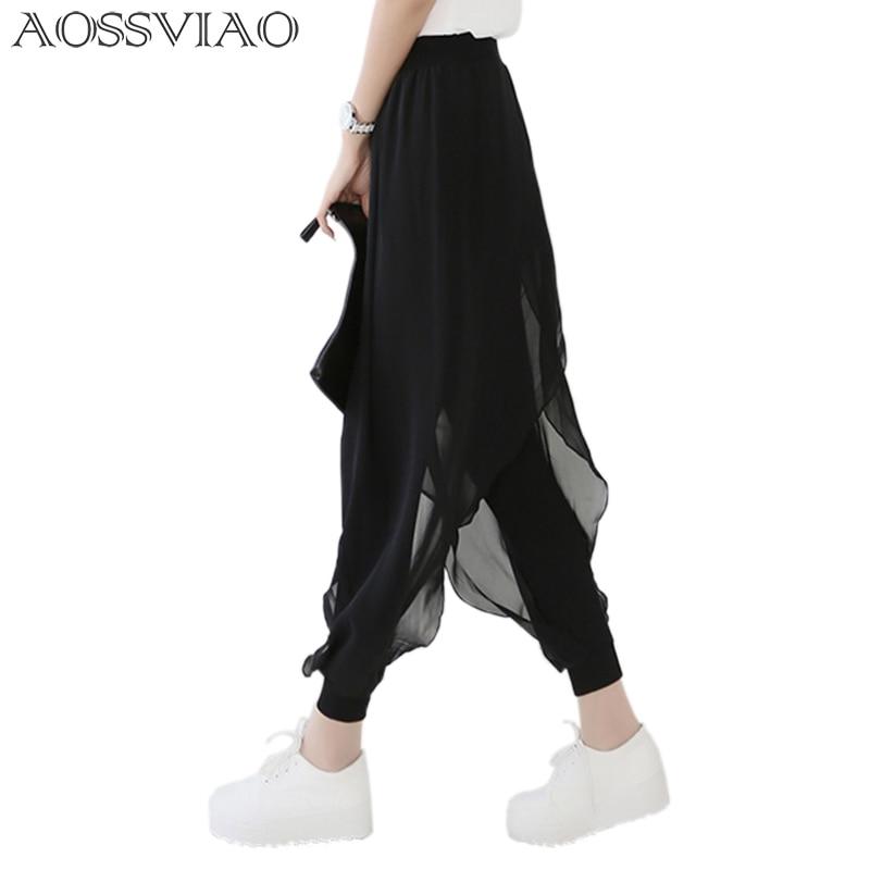 kesällä 2019 muoti naisten vapaa-ajan löysä sifonki harem-housut naisten housut musta pantalon femme plus koko kuuma myynti sarouel femme