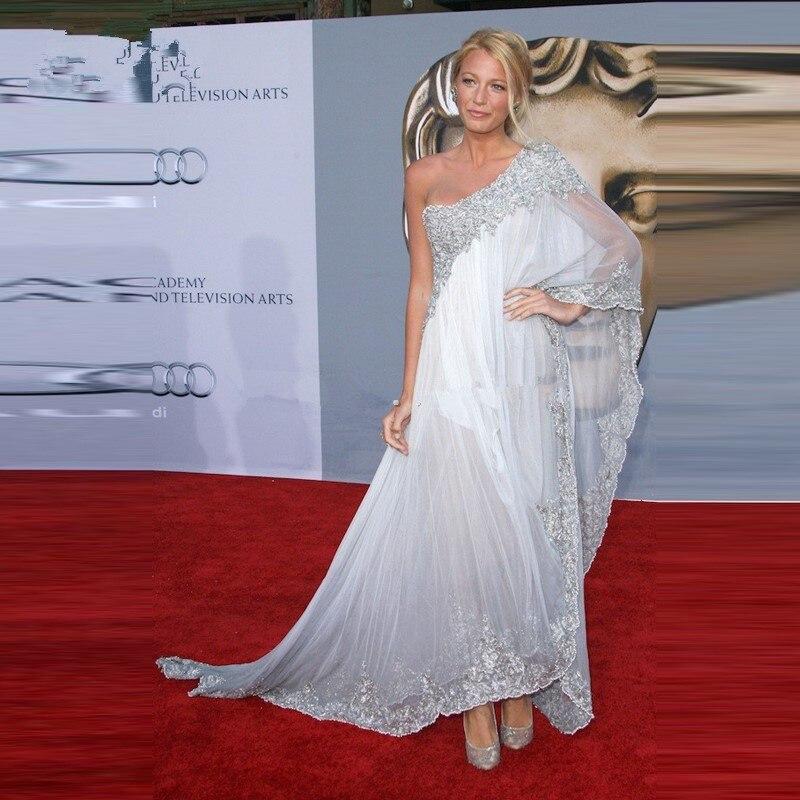 Us 116 86 14 Off Blake Lively Embroidery Prom Dress At Bafta Awards Red Carpet White One Shoulder Celebrity Dresses In Inspired