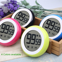 Multicolor Round Timer Home Creative Touch Screen LCD Digital Kitchen Timer Electronic Timer Multi Function Timer Gift