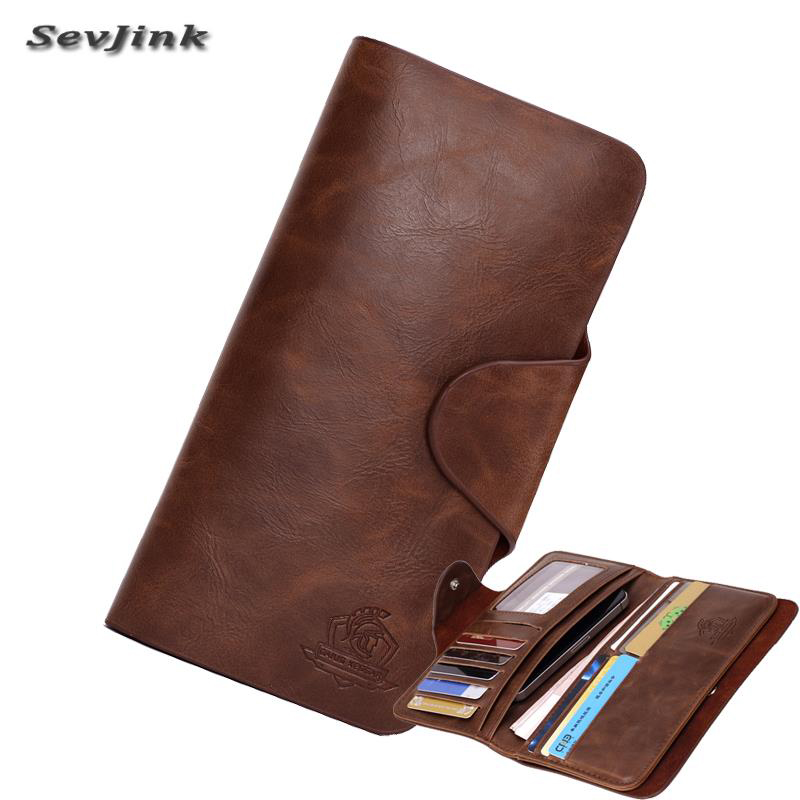 Чоловічі гаманці Vintage з натуральної шкіри чоловічі гаманець телефон справи Держатель карти довгий стиль гаманець для чоловіків