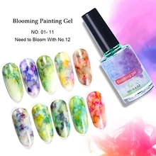 12Pcs Quick Dry Nail Stain Dye Pigment Gel Varnish Watercolor Flowers Blooming Paint Gradient Lacquer Art Decoration