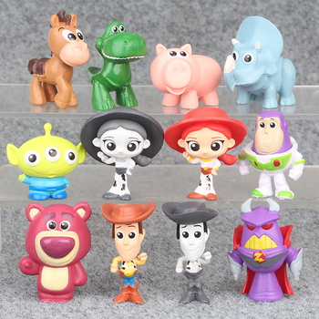 12pcs/set 5CM Movie Cartoon Toy Story 4 Woody Buzz Lightyear Jessie Rex action figure collectible model toys for Children