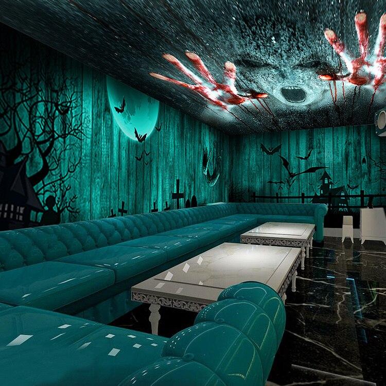 escape horror chamber theme wallpapers ktv murals cinemas seamless bars paper wallpapersafari