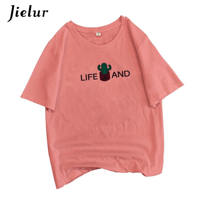 Jielur T Shirt Women Cartoon Print Casual T-shirt Female 8Colors Fashion Harajuku Vintage Tshirt Kpop Hipster BF Tee Shirt Femme