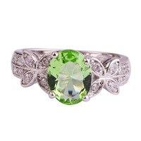 lingmei Wholesale Women Green Amethyst & White Topaz 925 Silver Ring Size 8 9 10 Fashion Popular New Design Jewelry Free Ship