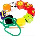 Montessori Kids Toy Baby 16 Pcs Cartoon Wood Lacing Beads String Learning Educational Preschool Training Brinquedos Juguets