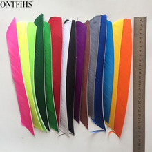 ONTFIHS Left WING - Archery Fletches Feathers Multicolor Full length Real Turkey Feather Arrow Fletchings 50PCS