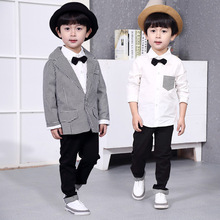 Gentle Boys 3PCS Formal Houndstooth Suit with Bowtie Brand Kids Preppy Style Casual Flower Wedding 3 4 5 6 7 Y