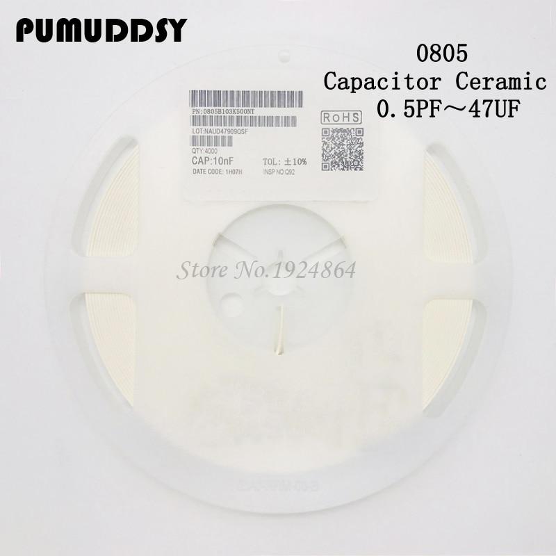 0805 smd capacitor ceramic 100pf 47pf 10pf 10nf 1nf 100nf capacitors kit 0.5pF-47uF 1 reels