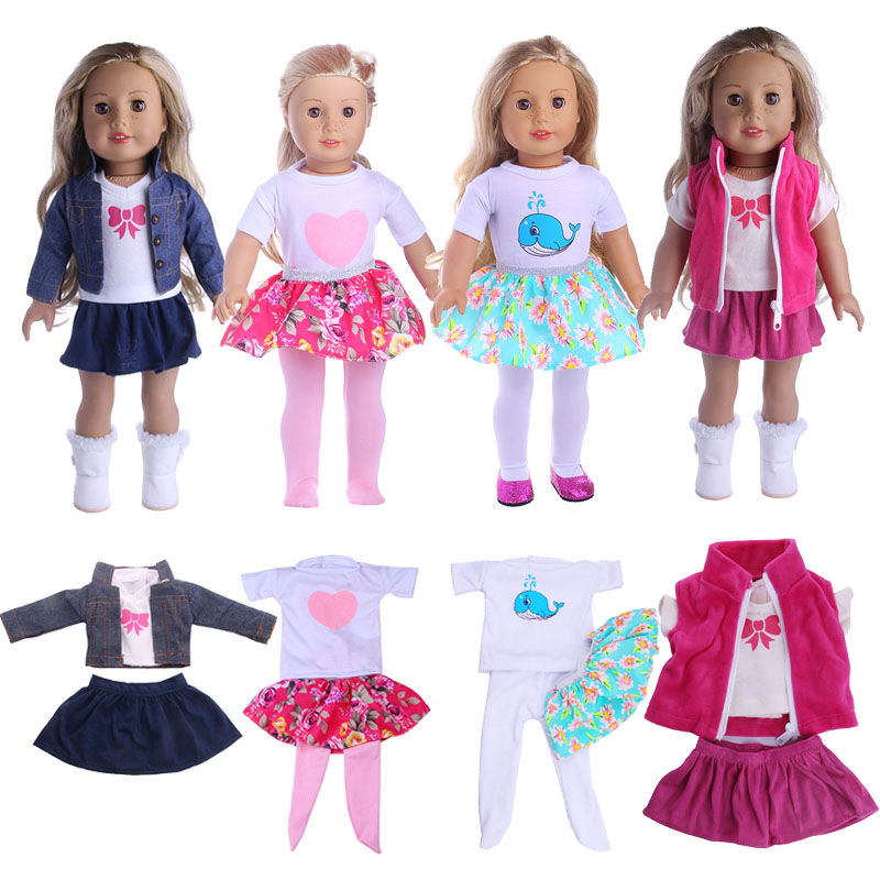 4 Styles Cute Pattern Set(3Pcs) Fit 18 Inch American&43 CM Baby Doll Clothes Accessories,Girl's Toys,Generation,Birthday Gift