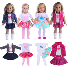 1 set=shirt+skirt+pants Fit 18 inch American girl doll,43 cm New Baby Born Zapf best gift for kids free shipping(Only clothes) free shipping hot 2014 new style popular 18 american girl doll clothes dress b116
