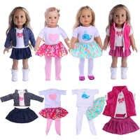 4 estilos patrón lindo Set (3 piezas) 18 pulgadas y 43 CM muñeca bebé Ropa Accesorios chica juguetes de regalo de cumpleaños