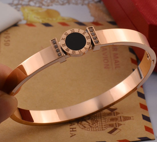 YUNRUO Exclusive Design Rose Gold Plated Roman Number Crystal Bangle Titanium Steel Jewelry Woman Birthday Gift Free Shipping