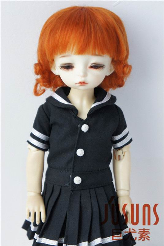 JD268 1/6 YOSD 100% mohair doll wigs 6-7inch Short back curly BJD wig mohair doll accessories
