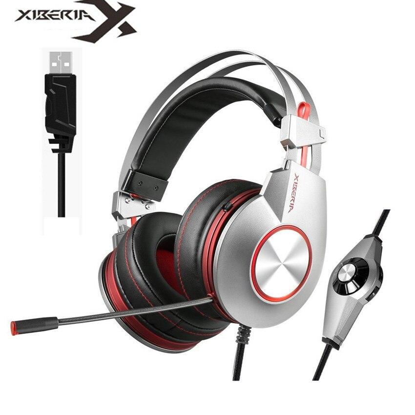 XIBERIA K5 Best Gaming Kopfhörer mit Mikrofon USB 7.1 Sound/3,5mm schwere Bass Spiel Headset für PC Gamer PS4 Xbox one telefon