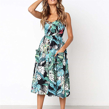 Clothes Womens Dresses Tropical Plants Print Plus Size Summer Sexy Dress Backless Clubwear 2019 New недорого