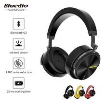 Bluedio T5S aktif gürültü iptal kablosuz bluetooth kulaklıklar taşınabilir kulaklık için mikrofon ile cep telefonları