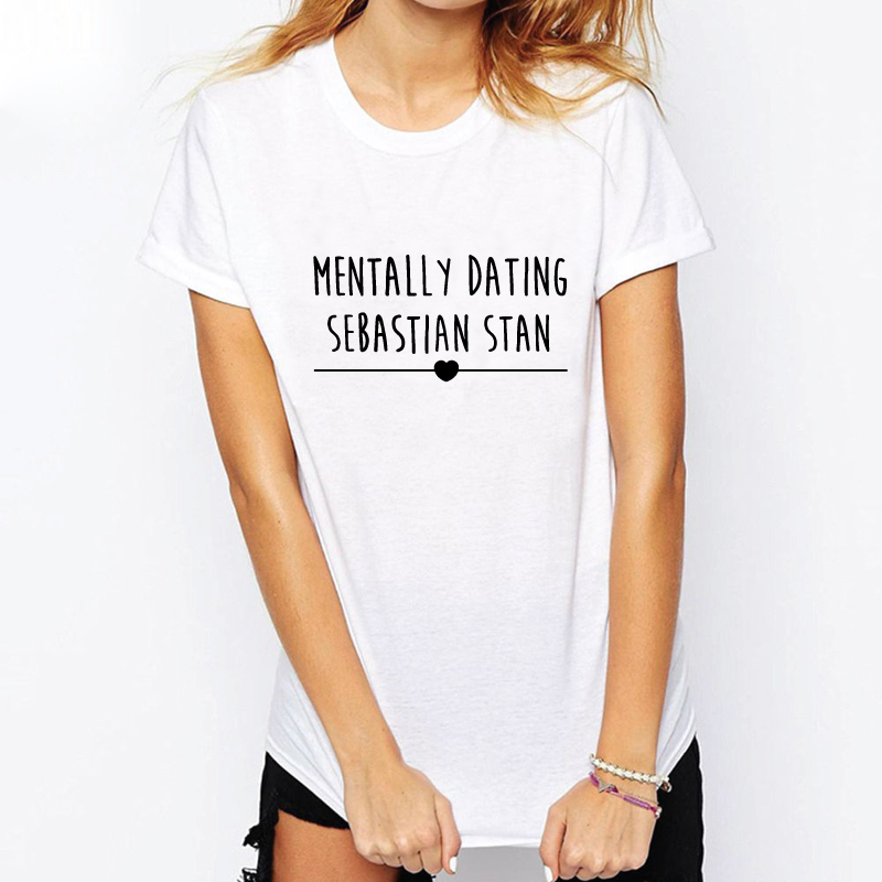 MENTALLY DATING SEBASTIAN STAN Letters Printed Shirt Summer Soft  T-Shirts Men's Cotton Loose Short Sleeve Tee Shirts