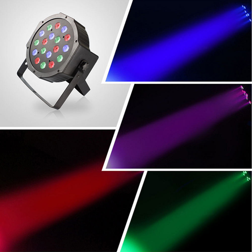 Professional LED Stage Lights 54W 18 RGB PAR LED DMX Stage Lighting Effect DMX512 Master-Slave Led Flat for DJ Disco Party KTV