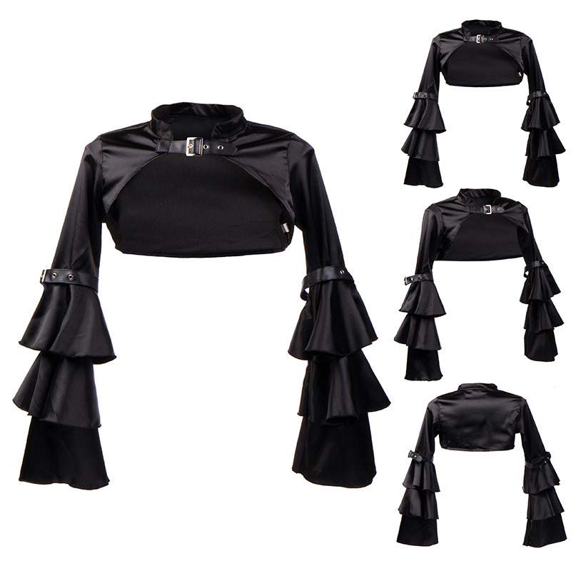 Punk Vintage Black Flare Sleeve Satin Women Sexy Corset Jacket Coat Plus Size Sexy Gothic Clothing Steampunk Costume Accessories