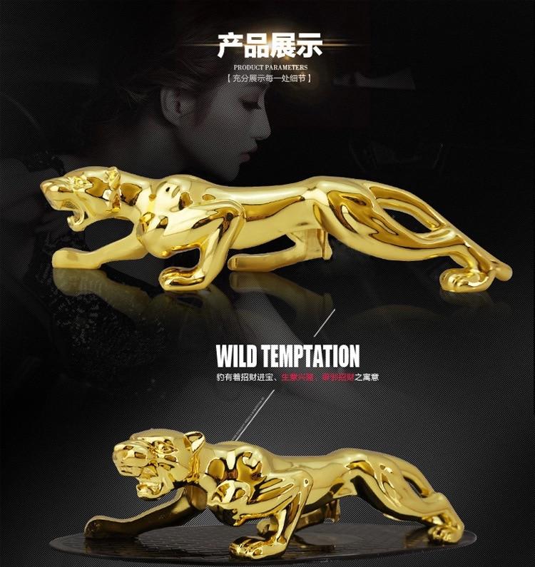 Ornement de voiture léopard, grande taille, placage d'or en métal pur 928g décoration d'accessoires d'intérieur d'automobile
