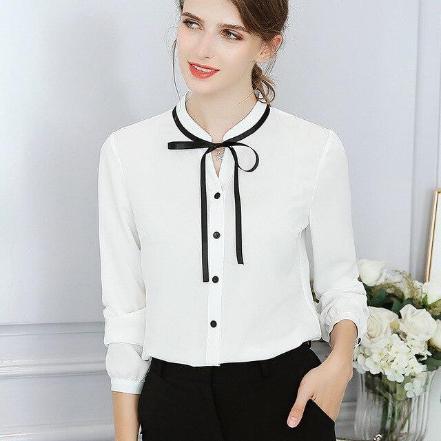 New Spring Autumn Tops Office Ladies Blouse Fashion Long Sleeve Bow Slim White Shirt Female Cute Bodycon Work Blouses Blusas 2
