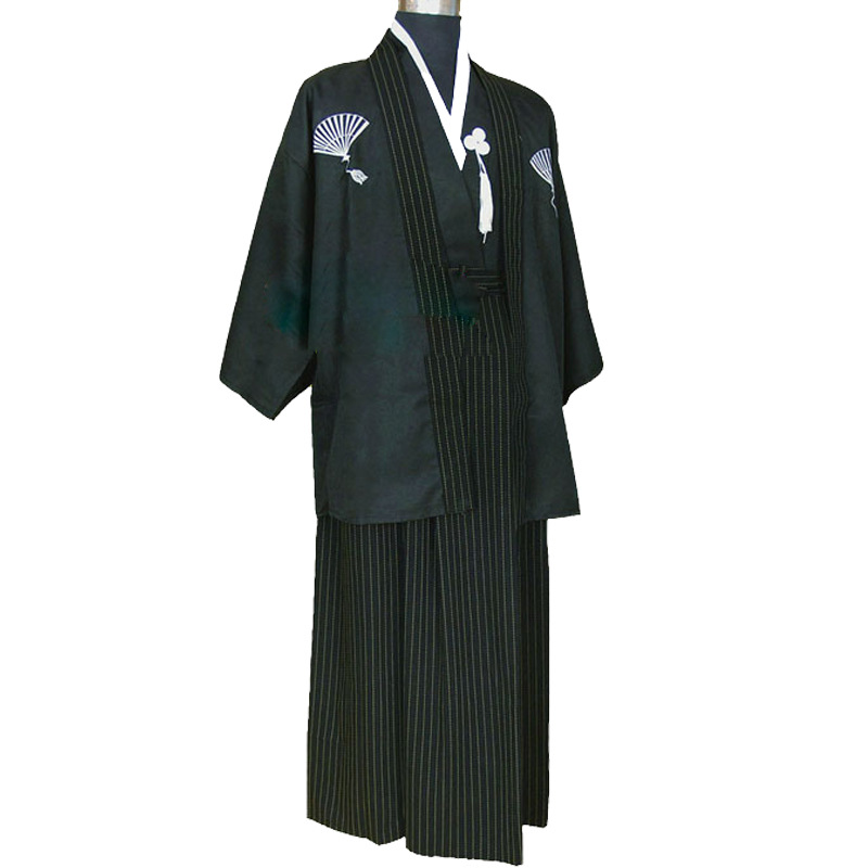 Japanese Kimono Robes Men Casual Waves Dressing Gown For Men Stage Performance Clothing Cosplay Vintage Long Kimono Sets Y363