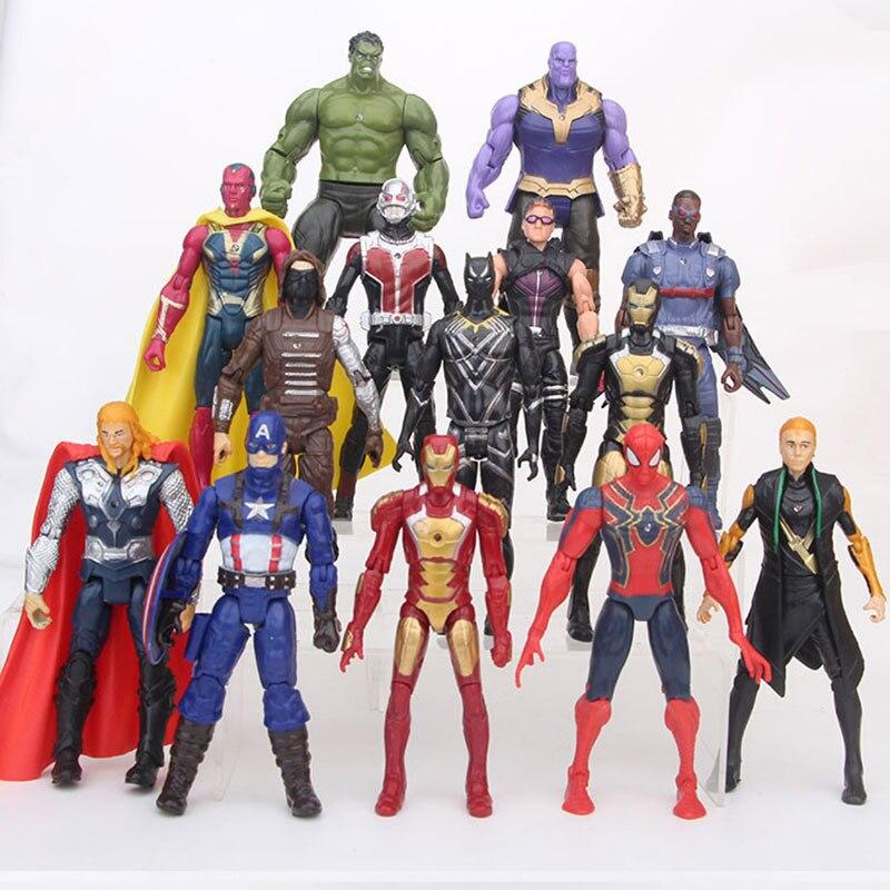 14 pièces Super héros le vengeur 15 CM Captain America Ironman Spiderman Thanos poupée décoration PVC Collection figurines jouets modèle