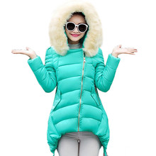 Long Style Woman Winter Jacket 2016 Thicken Warm Fur Collar Hooded Padded Coat Slim Wadded Jacket Pleated Hem Outerwear AA194