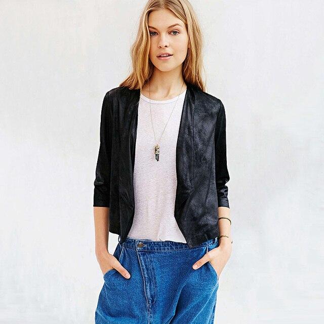 Весна женщины новая мода куртки пальто тонкий была тонкая нагрудные три четверти bronzing замши короткие пальто повседневные куртки ZJ1038