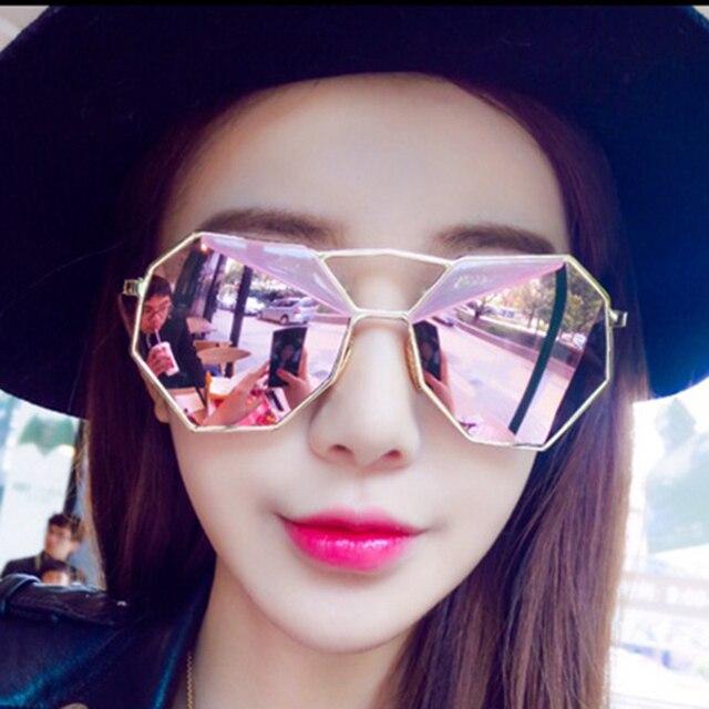14b415e3432 Brand Designer 2016 New Ladies Oversized Sunglasses Women Octagon Lovers  Hippie Square Rose Gold Sunglasses UV400 Oculos De Sol