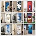 Наклейка на дверь DIY наклейки для домашнего декора самоклеющиеся обои на дверь Водонепроницаемая роспись для двери спальни ремонт наклейки...