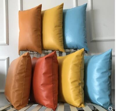 High grade PU leather cushion cover pillowcase simulation leather throw pillow cover backrest lumbar pillow case