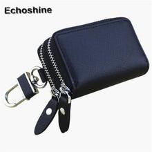 Genuine  Leather Car Key Wallets Men Key Holder Housekeeper Keys Organizer Women Keychain Double Zipper Key Case Bag