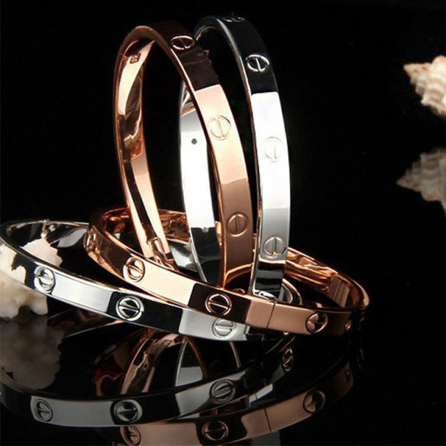 2017 Модный Розового Золота Серебряный Браслет для Женщин Браслет Любовника Браслет Ювелирные Изделия Titanium Любовь Браслет Pulseiras
