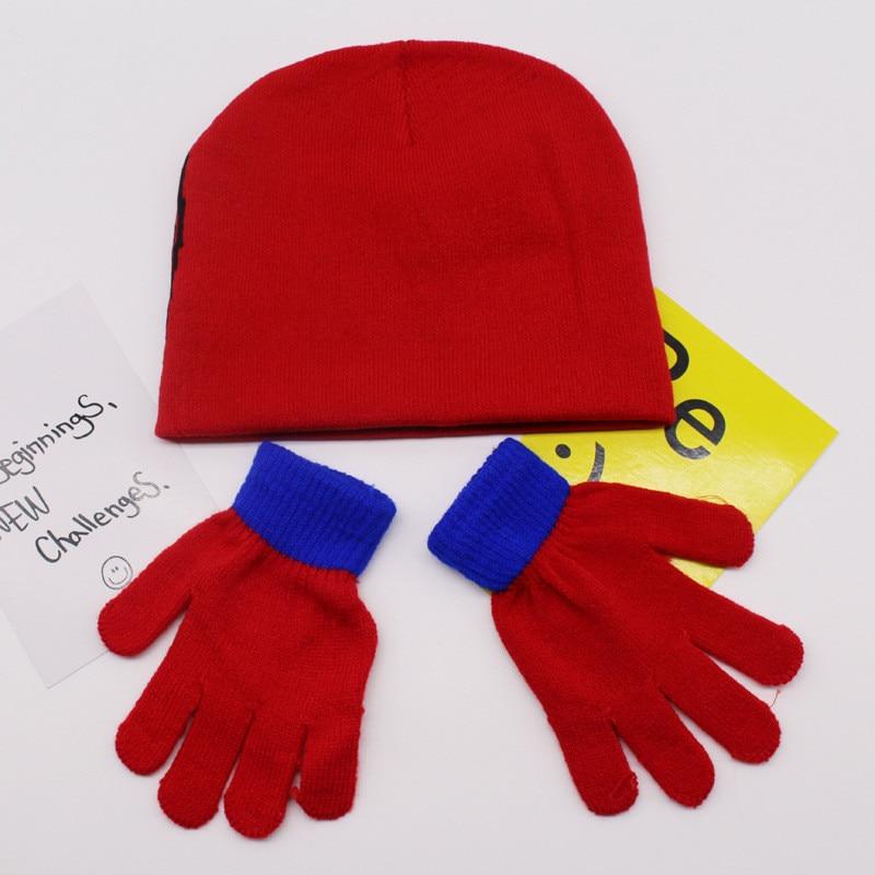 Autumn Winter Girls Boys Hat Set Cartoon Spiderman Warm Cap knitted Hat Gloves Children Hat Sets DS19 in Hats Caps from Mother Kids