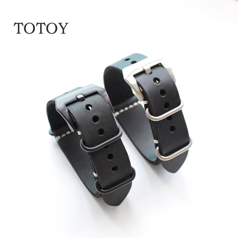 TOTOY 20MM/22MM/24MM/26MM Army Table Calfskin Watchbands, Extended Version Of The Retro Style Leather Watchbands, NATO Strap the wallflower 22 23 24