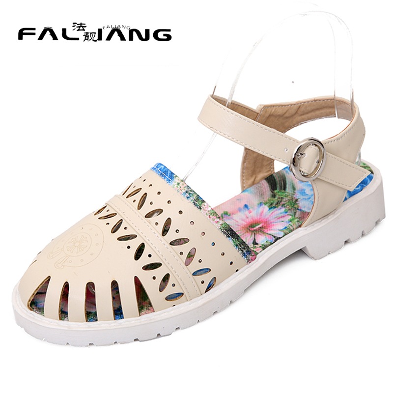 ФОТО New arrival Summer plus size 11 12 Fashion Casual Solid womens shoes Hand sewn Ankle-Wrap Rough with Summer low heel sandals