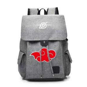 Image 1 - Anime Naruto Cartoon Canvas Backpack for Teenage Akatsuki Itachi Sharingan School Daypack Large Capacity Shoulder Bags Mochila