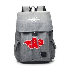 อะนิเมะ Naruto การ์ตูนกระเป๋าเป้สะพายหลังผ้าใบสำหรับวัยรุ่น Akatsuki Itachi Sharingan โรงเรียน Daypack ขนาดใหญ่ความจุไหล่กระเป๋า Mochila