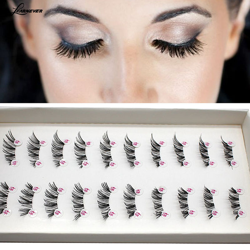 LEARNEVER NEW 10 Pairs HALF/MINI/CONER WINGED CROSS False eyelashes SOFT eye lashes  M02679-in False Eyelashes from Beauty & Health