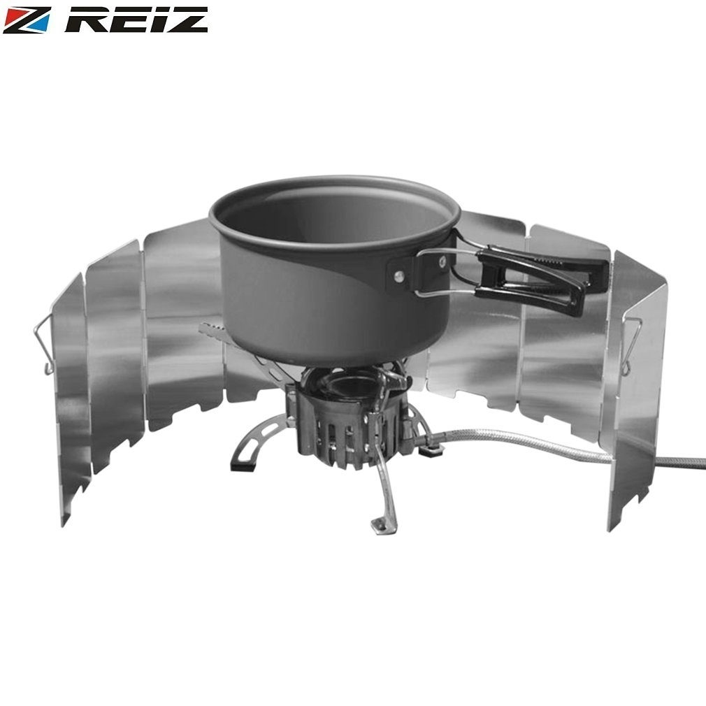 REIZ 10 Plated Foldable Ultra Lightweight Cooker Gas Stove Wind Shield Outdoor Camping Aluminum Wind Shield Screens