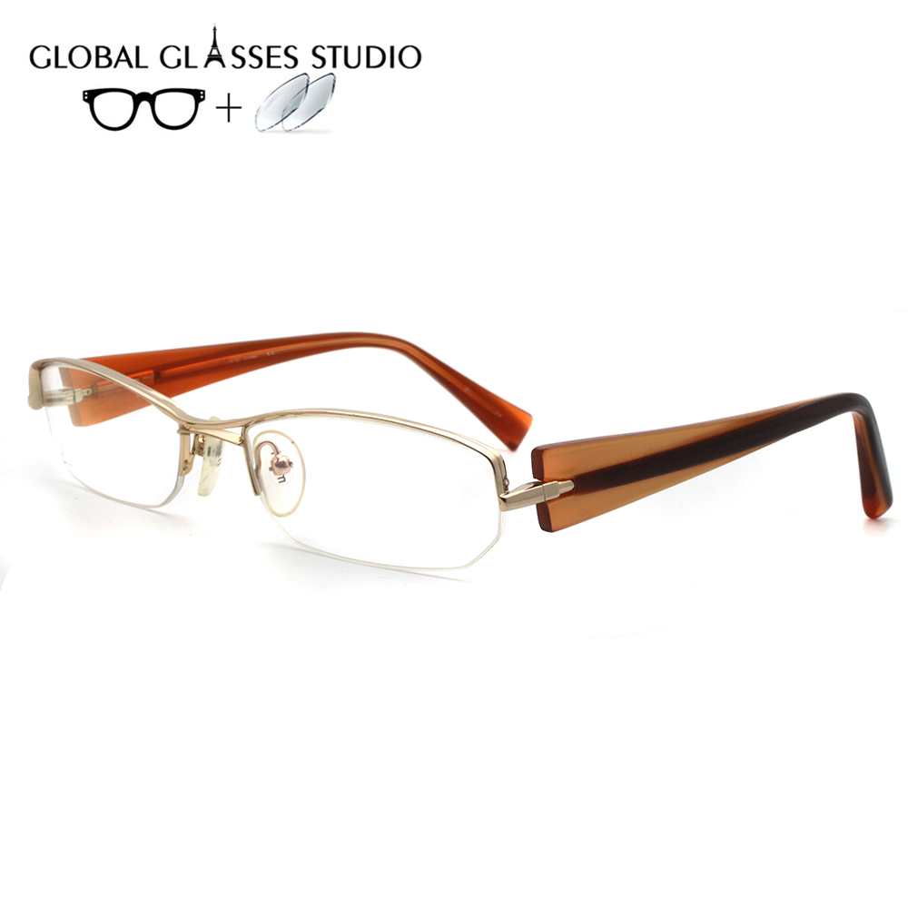Women Metal  Glasses Frame Eyewear Eyeglasses Reading Myopia Prescription Lens 1.56 Index A0657 C3(China)