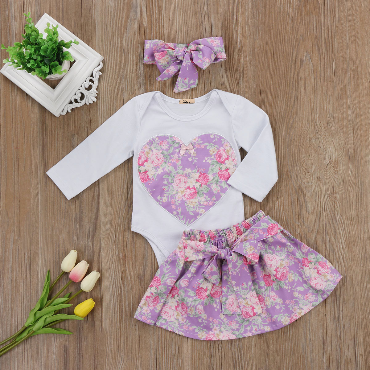 princess baby girl clothes set Newborn baby girl heart shape floral romper +purple flower skirts headband cute baby girl outfits