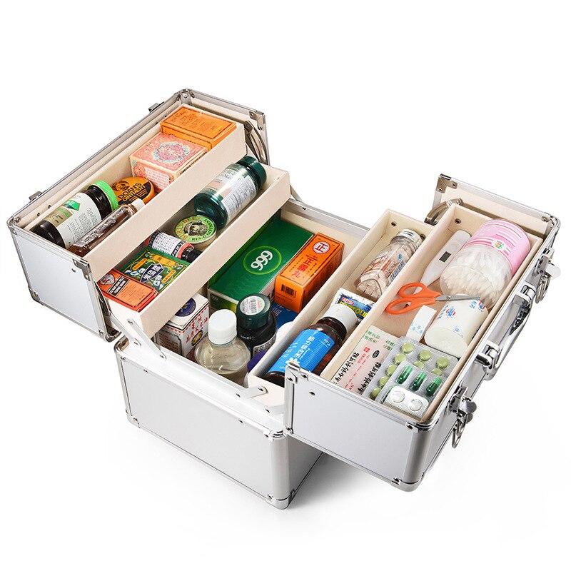 3 couches Premier Cabinet Trousse de secours Cas En Aluminium Portable Médicale D'urgence Kits Kit de Survie du Tremblement Double Verrouillage Boîte de Premiers secours